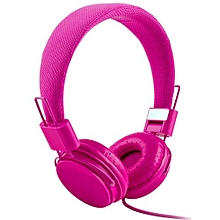Headset Adjustable Foldable Kid Wired Headband Earphone Headphones With Mic Stereo Bass-hotpink