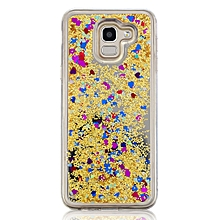 Samsung J6 2018 Phone Cover Mirror Surface Sandy Design Protective Case    SAMSUNG J6 2018    yellow