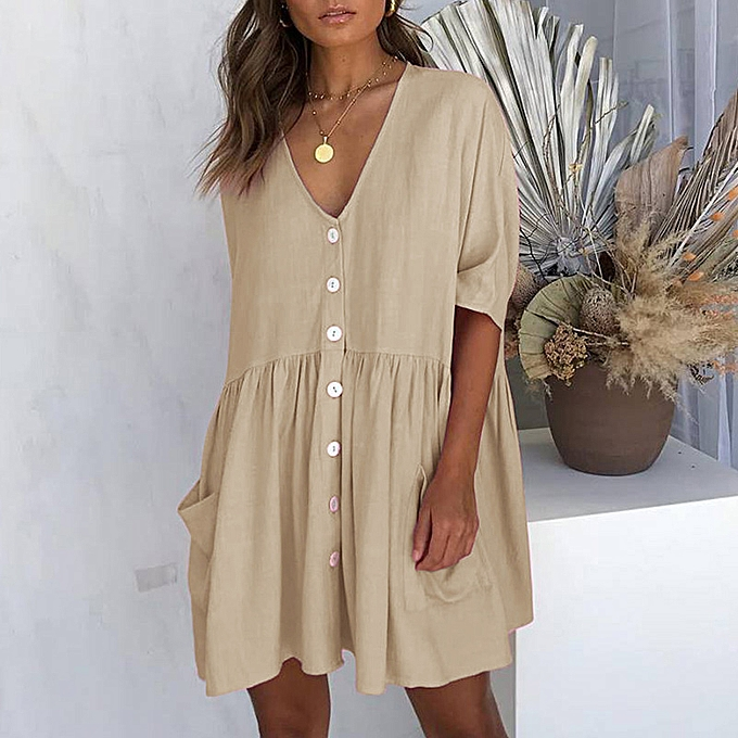 b87a497b272 Women V Neck Loose Dress Half Sleeves Pockets Vintage Casual Mini Dress  Tunics