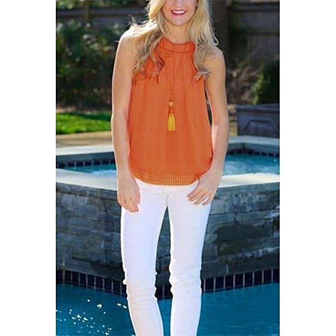eb8bc4414a971 ... YOINS Women New High Fashion Clothing Casual Sleeveless Crew Neck  Orange Cami Top