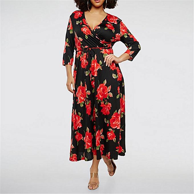 16560d3e885 Long Women Dress Sexy V neck Floral Print Plus size Maxi Dresses Boho Party  Vestidos Women