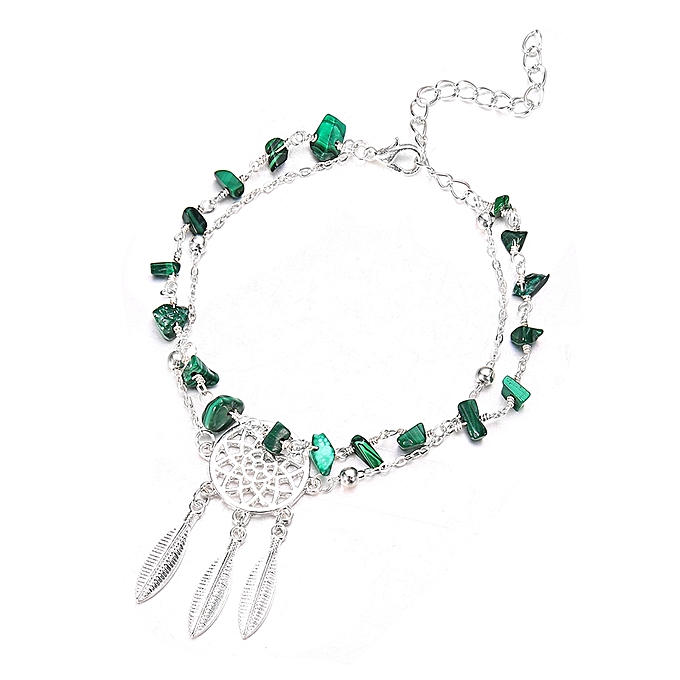 490c81acc1f ... Hollow Dreamcatcher Irregular Turquoise Anklet Feather Pendant ...