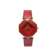 Ladies Pu Leather Wrist Watch - Red