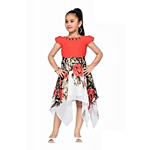 Red chiffon dress with floral pattern