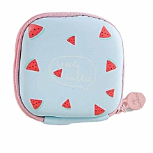 bluerdream-Portable Mini Round Storage Case Bag For Earphone Headphone Cards Storage-As Shown