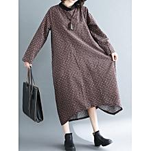 Women Vintage Printed Flat Collar Long Sleeve Loose Hem Dress