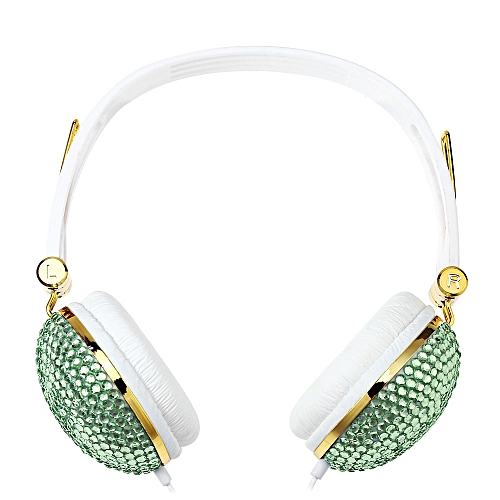 Artificial Crystal Rhinestone Bling Earphones With Anti-noise Music Function(MINT GREEN)