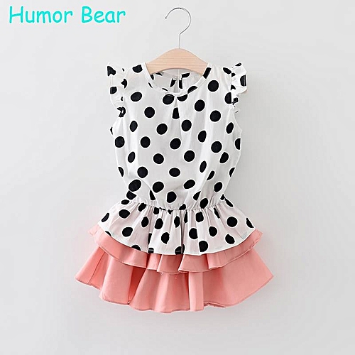 495cc9aa56d1 Generic Humor Bear Polka Dot Short Dress For Baby Girls   Best Price ...