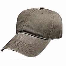 Men Women Baseball Cap Blank Plain Army Curved Washed Hip-hop Sport Golf Sun Hat Dark Grey