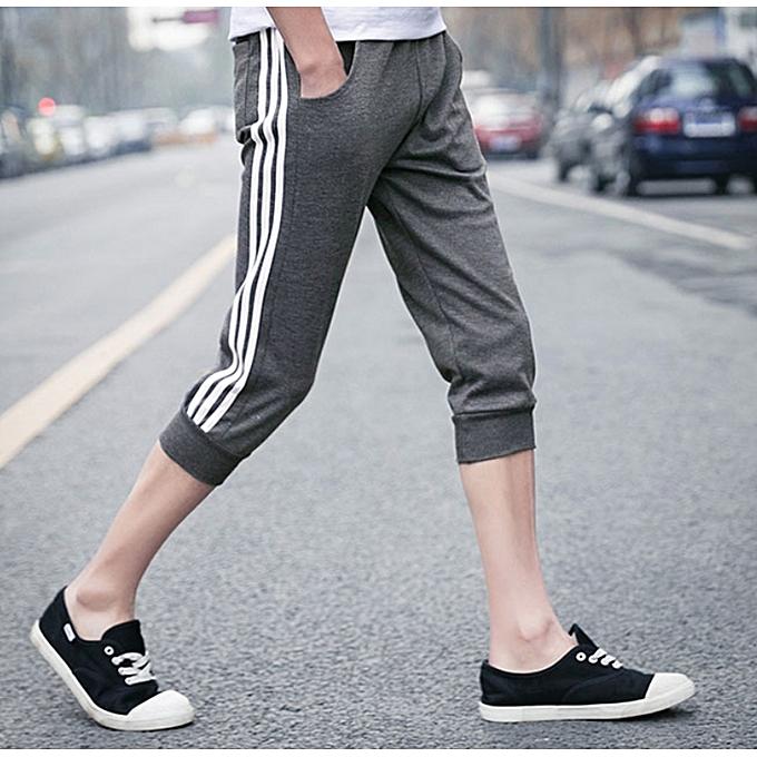4994d247228cb1 Men's Capri Shorts Casual Mens Beach Shorts Male Trousers homme Brand  Clothing Loose Straight Shorts-