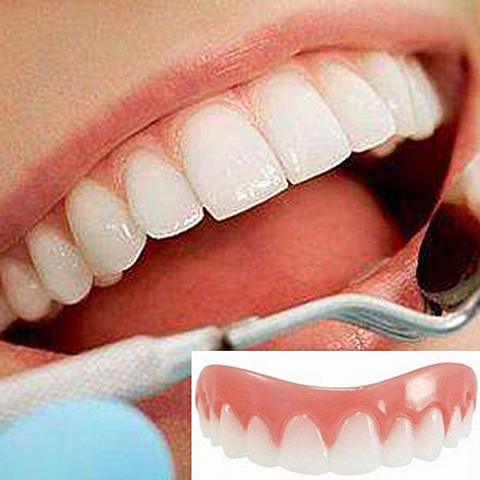 Professional Bright Smile Veneers Silicone Fake Tooth Flex Denture Upper  row pink&white