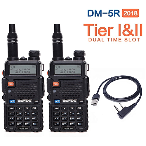 2Pcs 2019DM-5R plus Tier 1 Tier 2 Digital Walkie Talkie DMR Two-way radio  Repeater Upgrade of DM 5R plus+Free cable AKESI