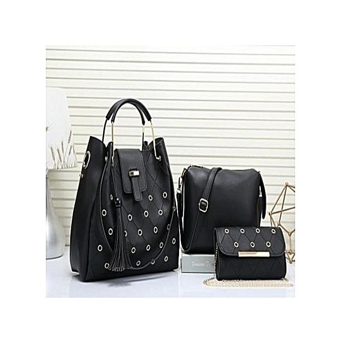 af0d37568762 Generic Elegant Ladies Handbags 3 in 1 Black   Best Price