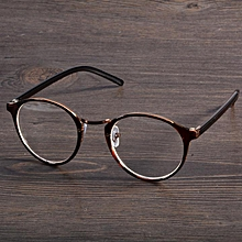 4 Colors Stylish New Personality Practical Decoration Retro Round Lens Plano Optical Glasses-Tawny