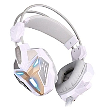 Headphone Gaming, G3100 gaming headset Wired stereo LED microphone for computer(White Gold)