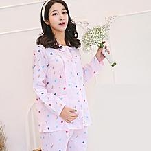 (Maternity Tops+Pants) Cotton Maternity Pajamas Sets Pregnant Nursing Sleepwear Women Maternity Breastfeeding Tops Pants Pajamas - love pink