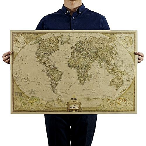 World executive poster national geographic reference map kraft paper world executive poster national geographic reference map kraft paper decorative wall sticker khaki gumiabroncs Image collections