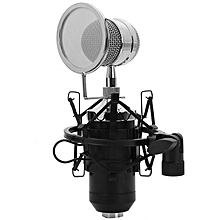 BM-8000 - Professional Condenser Microphone With 3.5mm Plug Stand Holder - Black