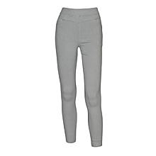 Women Light Grey Slim-Fit Stretch Twill Full Length Jeggings