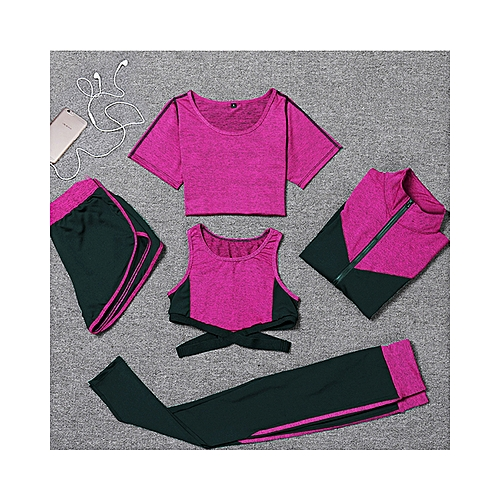 53bc1670dd New Women Yoga Clothes 5 Piece Girl Yoga Sets 6-14 Fitness Clothing Running  Tracksuit
