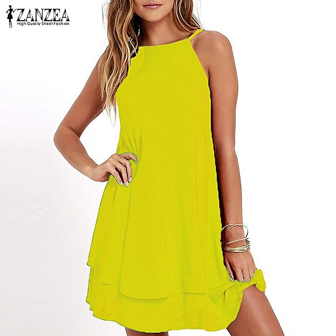 c0ecb35084f7 ZANZEA Women Strappy Loose Casual Solid Short Mini Dress Summer Beach Dress  Plus (Yellow)