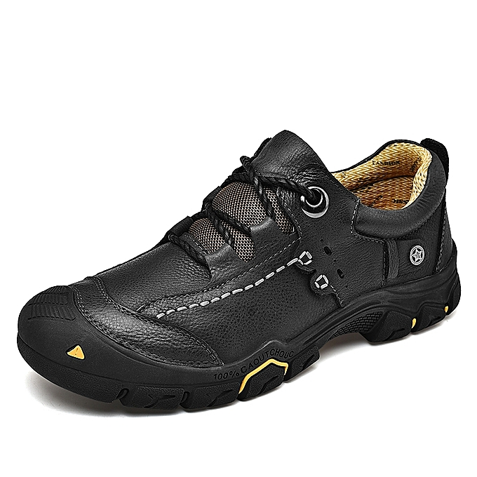Socnodn Men Fashion Casual Leather Hiking Work Shoes Boots Black