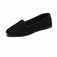 Flat Slip On Ballet Closed Round Toe Women Shoes - Black