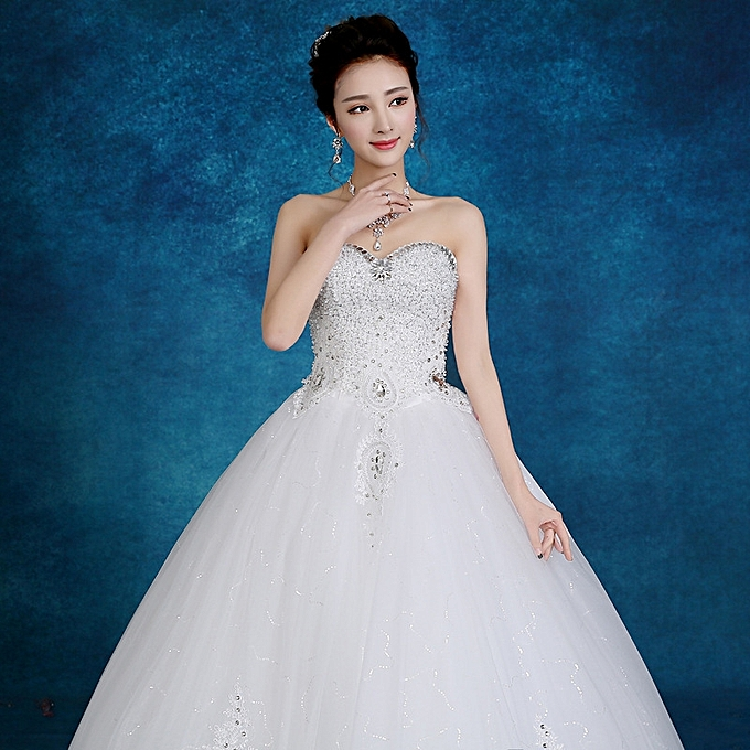 AFankara Women Classic Ball Gown Wedding Gowns-White