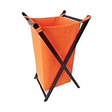 Foldable Laundry Basket - Orange with Black Stands