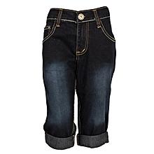 Dark Blue Three Quarter Girls Jeans