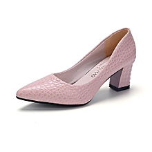 Crocodile Pattern Heels Pumps Women Shallow Office Formal Shoes 6cm (Pink)