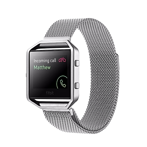 For Fitbit Blaze Watch Loop Magnetic Closure Clasp Stainless Steel Watchband(Silver) - Silver