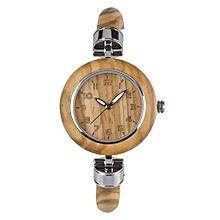 ZS-W151A Women Wood Watch Quartz Movement Vintage Casual Bracelet Bangle Wrist Watch