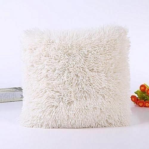 Fluffy Pillow Cover / Throw Pillow Cover / Sofa Pillow Cover / Seat Pillow Cover  18'' x 18'' - off White