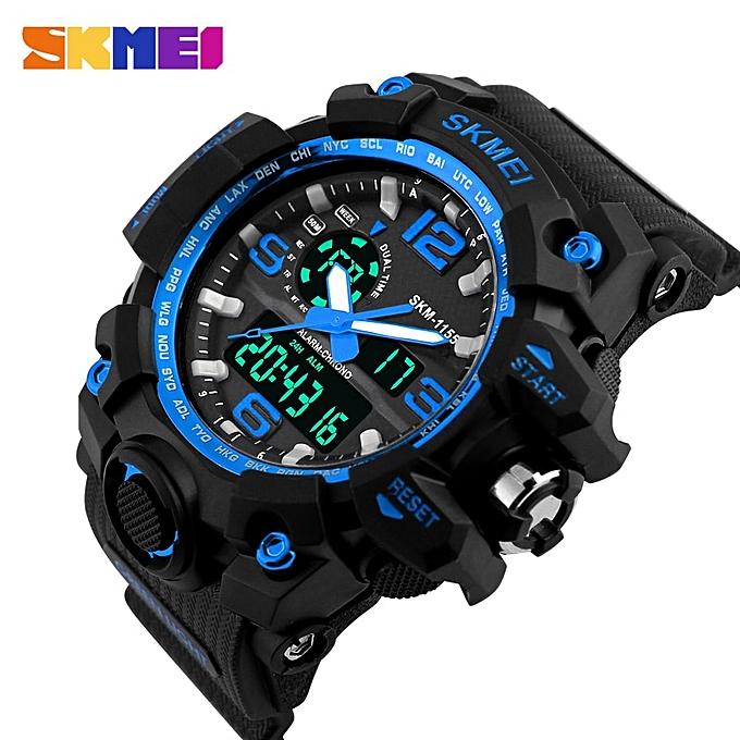 Digital Watch Military Army Men Watch Water Resistant Date Calendar LED Sports Watches Men(Blue