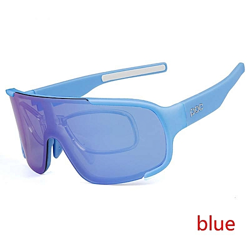 d1b6f451a0 Generic Men Women Cycling Glasses Outdoor Sport Mountain Bike Bicycle  Goggles Polarized Cycling Eyewear With 3 Lens - blue