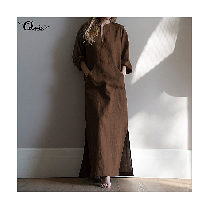 625e5af869b9 Fashion Women Cotton V Neck Long Sleeve Pocket Loose Shirt Dress ...