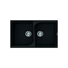 Monza 450 Double Bowl Sink - 375mm x 500mm + 275mm x 500mm - Black