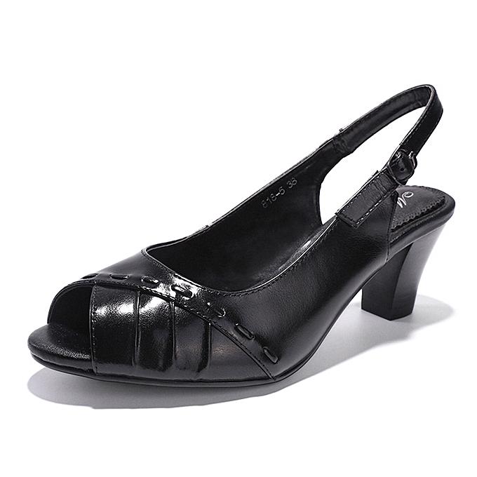 ebd570dd81cd Cowhide Leather Peel-Toe Chunky Heel Dress Sandals Pumps High Heels-Black