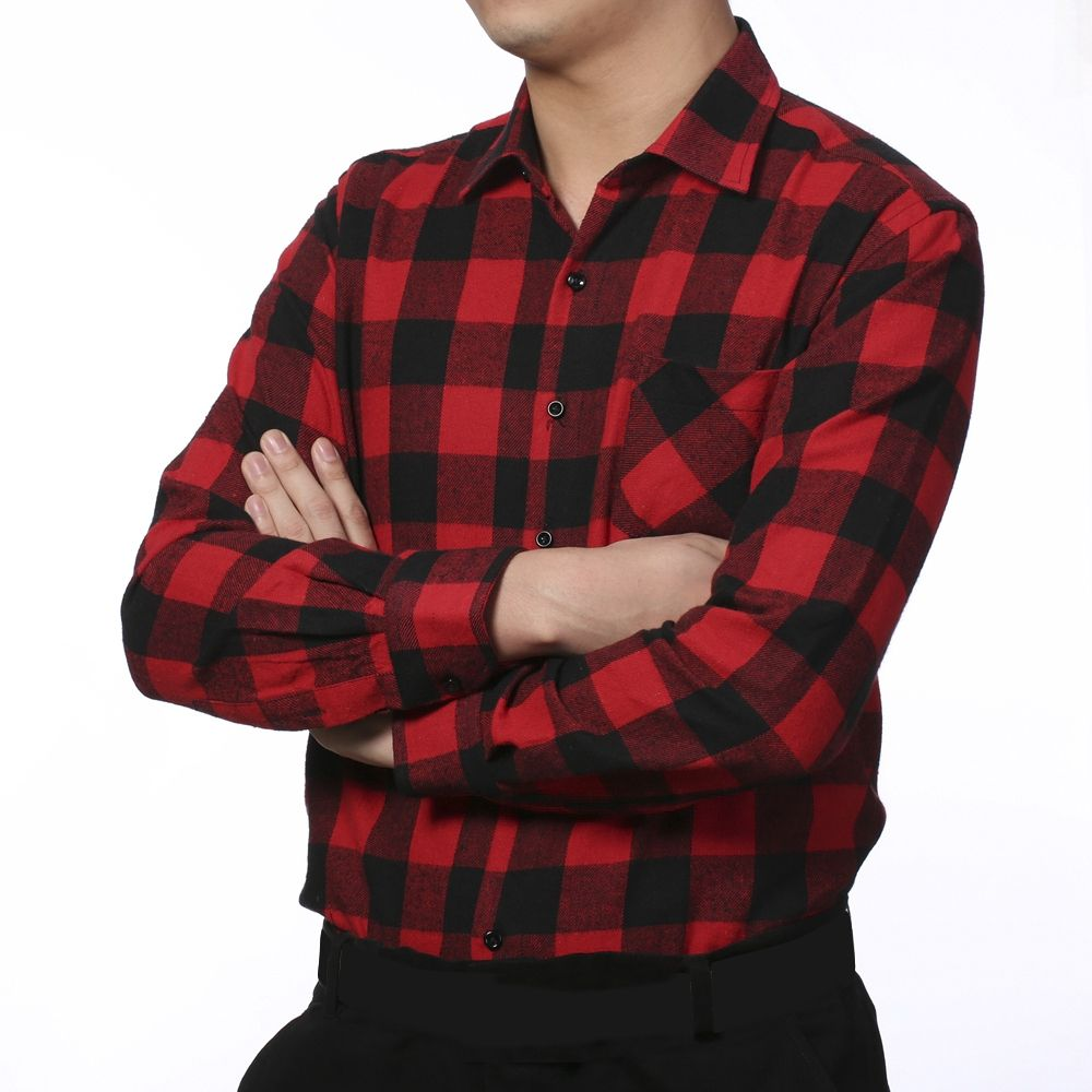 Fashion plaid long sleeve shirt red black buy online for Buy plaid shirts online