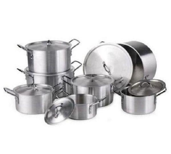 Seemann 14 piece stainless aluminium cookware pot sufuria for Kitchen set aluminium royal