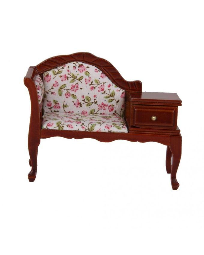 Magideal 1 12 Dollhouse Miniature Furniture Wooden Floral Recliner W Drawer Buy Online