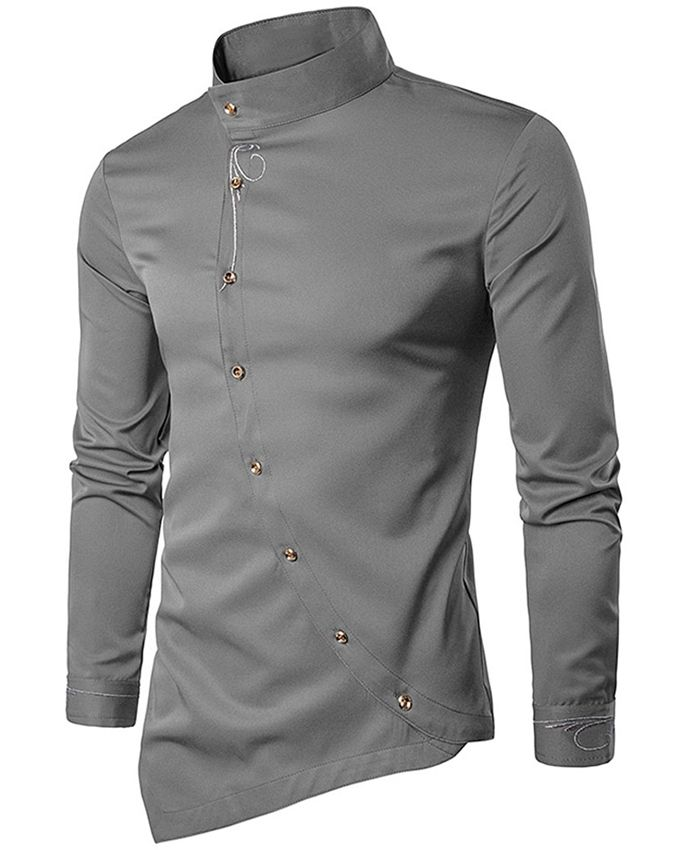 Fashion men 39 s oblique button embroidered shirt gray for Buy men shirts online