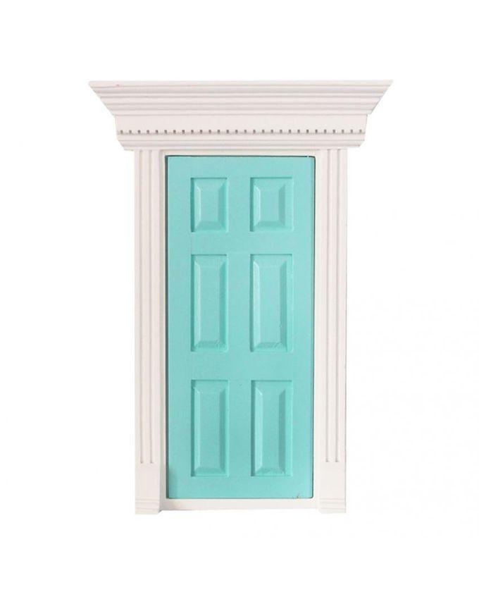 Magideal 1 12 scale mint green wooden fairy front door for Fairy front door