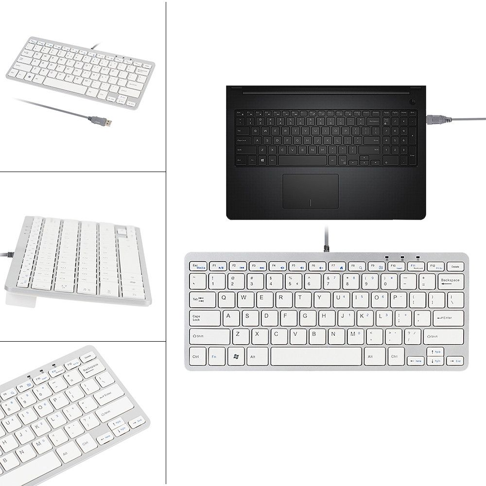 neworldline ultra thin slim 78 key wired usb mini pc keyboard for pc apple mac laptop white. Black Bedroom Furniture Sets. Home Design Ideas