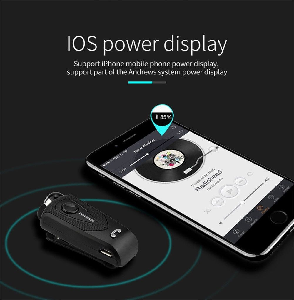 neworldline portable wireless retractable bluetooth v4 0 headset earphone for iphone 7 black. Black Bedroom Furniture Sets. Home Design Ideas