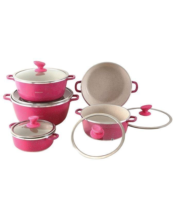 Dessini non stick cooking pots 10 pieces pink buy for Buy kitchen cookware