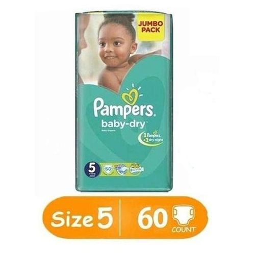 pampers baby dry diapers size 5 jumbo pack count 60. Black Bedroom Furniture Sets. Home Design Ideas