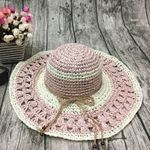 product_image_name-Fashion-Women Outdoor Summer  Handmake Woven Sun Protection Wide Brimmed Floppy Hat Hollow Out Cap-3