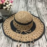 product_image_name-Fashion-Women Outdoor Summer  Handmake Woven Sun Protection Wide Brimmed Floppy Hat Hollow Out Cap-4